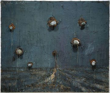 Kiefer. Oil, emulsion, acrylic, lead objecs and steel traps on canvas.