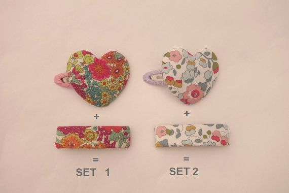 Mom & daughter couple Hair clip SET  Heart  Rectangle by NABISTYLE, $15.00