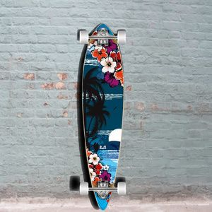 Tropical Night 40 inch Pintail Longboard from Punked Longboard - Complete