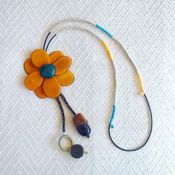 Summer 2013 Casual Necklaces Tangua Flower Turquoise- Orange