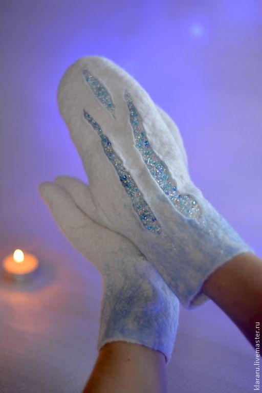 """Купить Варежки """"Льдинки"""", войлочные рукавички, женские варежки, белые варежки - варежки, рукавички"""