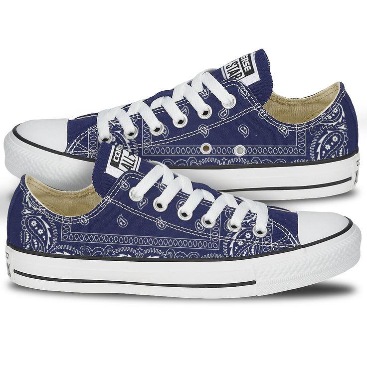 Blue Bandana Converse Shoes   Sneakers, Chuck taylor shoes ...