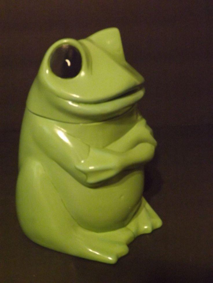 Green Frog Cookie Jar, Super Little Ceramic Frog, Green Frog Kitchen Decor