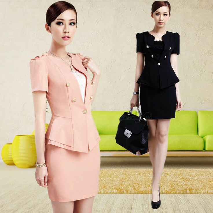 2013 Women's Slim Work Wear Skirt Suit Uniform Black and Pink Blazer & Skirt for Office Ladies Formal Business Suit Career Sets-inSkirt Suit...