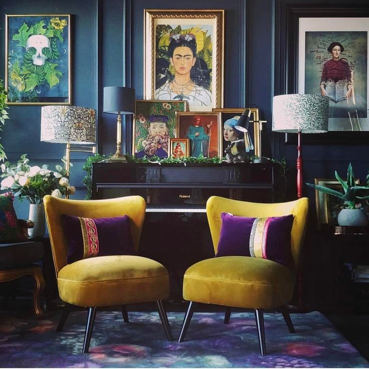 Royal purple and beautiful blue and yellow.. Sound colourful and looks amazing in this setting