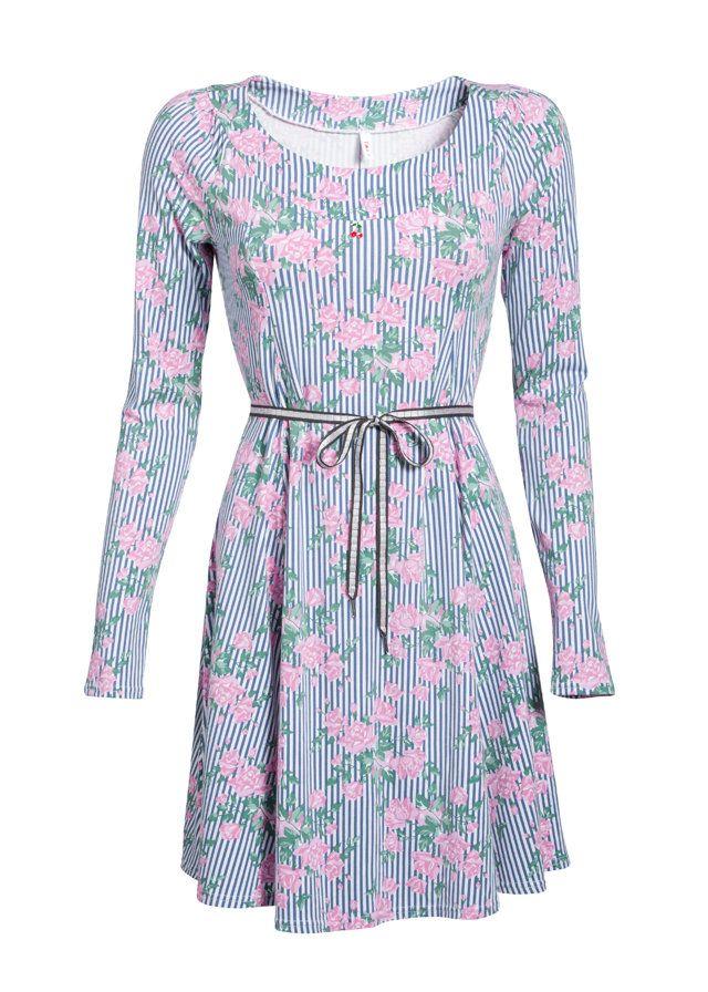 Blutgeschwister Everella dress blue stripes pink floral print blauw jurk strepen roze bloemenprint