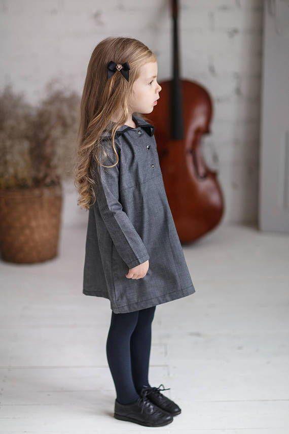 Long Sleeve Girls Dress Collar Toddler Dress Cotton Baby Dress