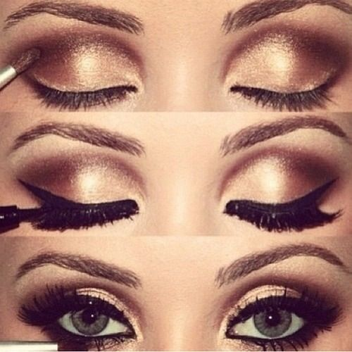 Gold Smokey Eye Bridal Makeup : Pin by J J on beauty Pinterest Gold Smokey Eye, Gold ...