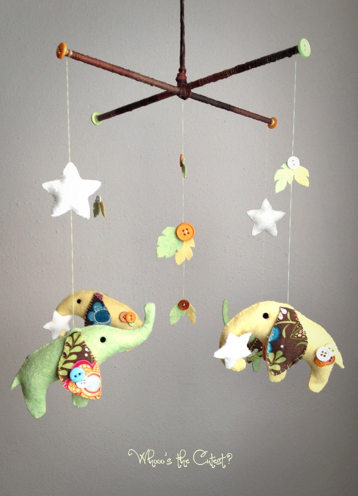Handmade & Customizable Neutral Elephant Baby Mobile for Baby Girl or Boy