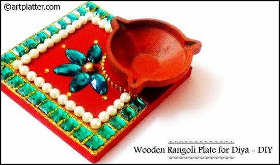 Wooden Rangoli Plate for Diya – DIY