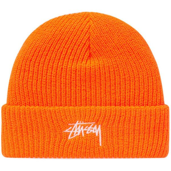 Stussy Stock HO17 Cuff Beanie (Orange) | END. ($68) ❤ liked on Polyvore featuring accessories, hats, orange hat, cuffed beanie hats, cuffed beanie, stussy hat and stussy