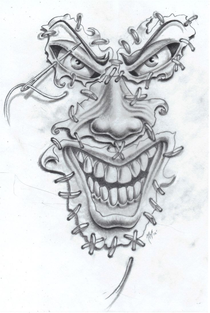gothic clown tattoo sketch - Google zoeken