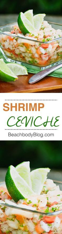 ceviche is made with shrimp, fresh lime juice, and refreshing cucumber. Make it as mild or spicy as you want by adjusting the chili peppers to your taste.