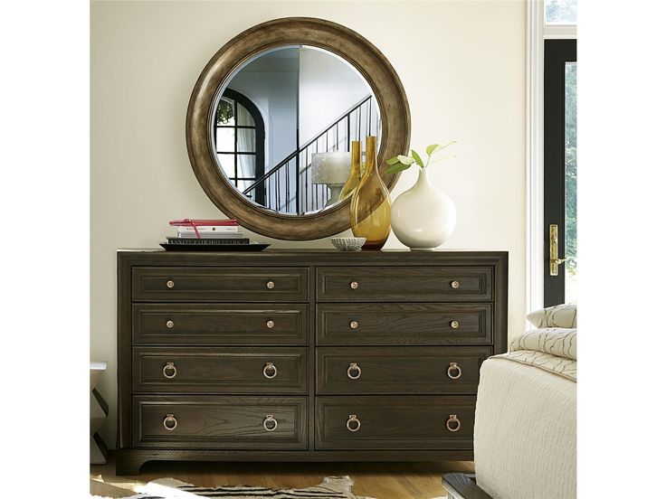 Stacys Furniture - 8 Drawers including drop front for electronics; Jewelry tray. Rustic White Oak Veneers, Select Hardwood Solids and Simulated Wood Components.