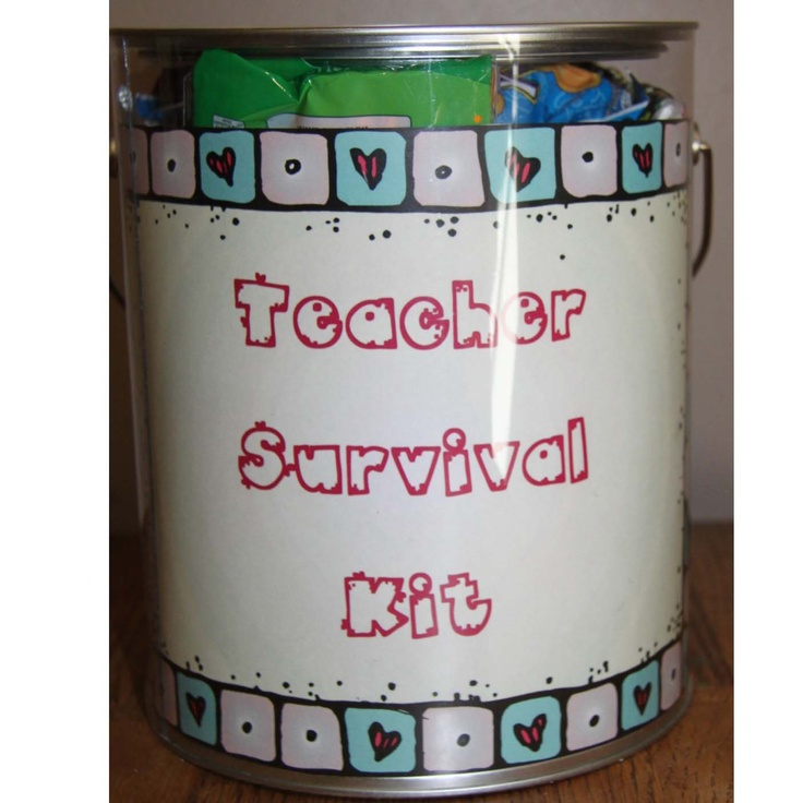 "I got this very thoughtful gift from the teachers where I student taught.  It is filled with goodies, and says ""animal cookies for when your classroom seems like a zoo, band-aids for when things get a little rough, chewing gum to help you stick to it, crayons to color your day bright and cheerful, candle for when you are up late marking or planning, smarties because that's who you are teaching, kit kat because you'll probably need a break by the end of the day,  eraser to remind you everyone…"