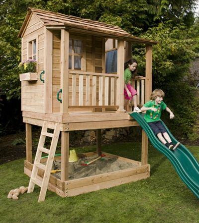 6'x6' Little Squirt Playhouse (with Sandbox) slightly less detail on top, open and lower, but like slide option
