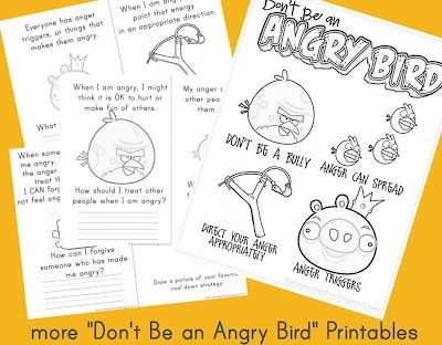 """newest printables to go along with our """"don't be an angry bird"""" lesson"""
