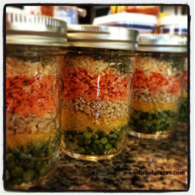 Soup in a jar (uses 1/2 pint jars, but could use a pint jar for a large family)