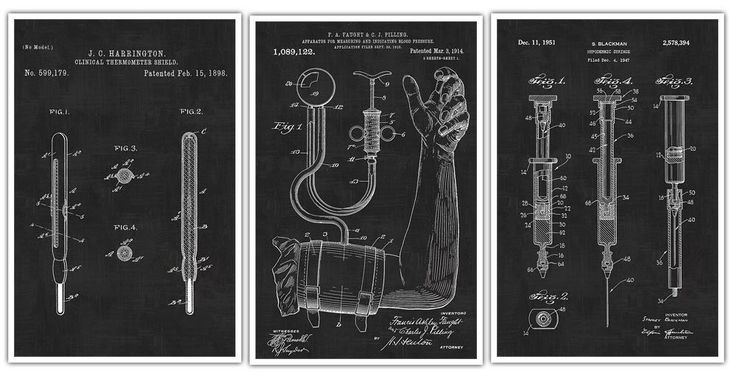 """Doctor's Equipment Patent Prints Set Of 3 - Hypodermic Needle - Thermometer - Blood Pressure Monitor Art Poster Nurse - Medical Student Patent Prints. Decorate your home or office and get inspired with Patent Poster Prints! These are awesome posters of inventions that have changed our lives throughout history. These poster prints are easy to frame and hang in your own home or perfect to give as a gift! Paper Size: Approximately 18.25"""" x 24.25"""" or 24.25"""" x 36.25"""" Printed Image Size:..."""