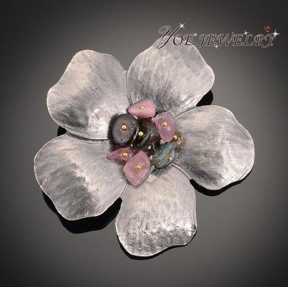 2015 мода в винтажном стиле суд природный камень металл броши женщины кулон цветок булавки брошь.