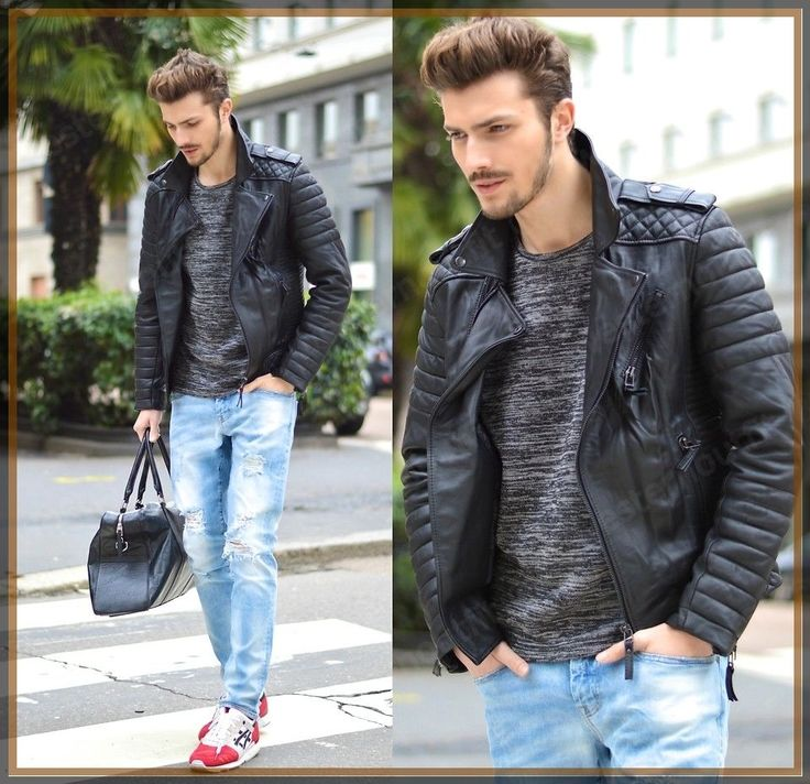 New Men's Genuine Lambskin Leather Jacket Black Slim fit Biker Motorcycle jacket #AriesLeathers #Motorcycle
