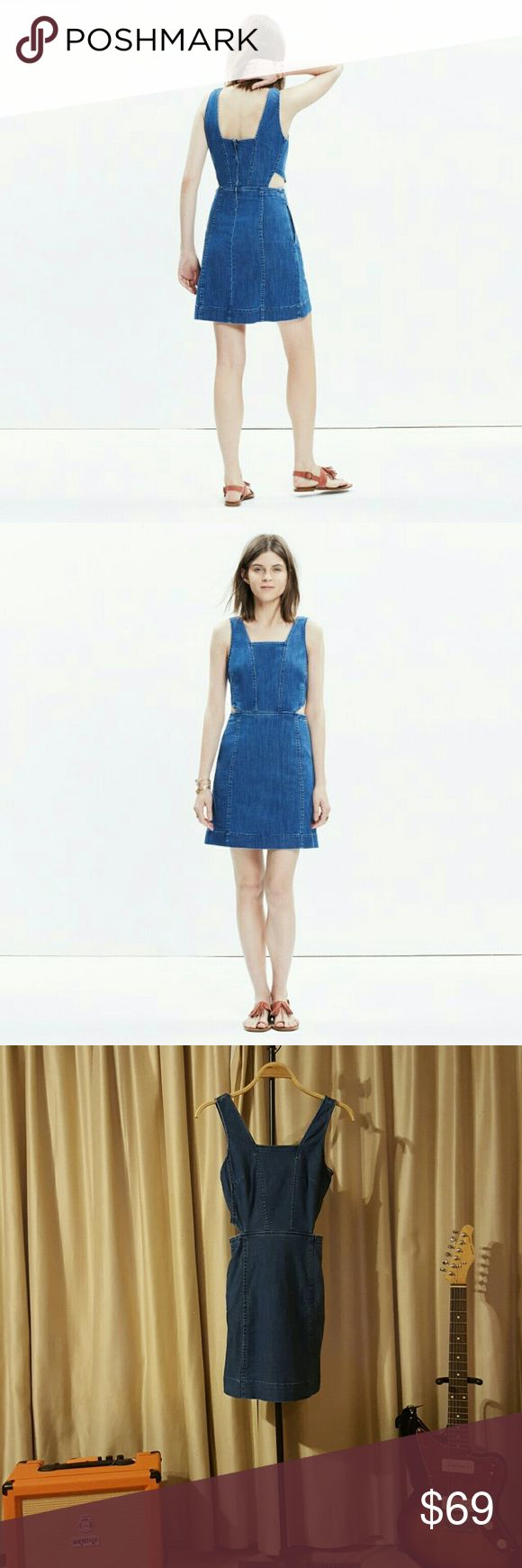 """Madewell Denim Cutout Dress PRODUCT DETAILS When you can't decide between jeans and a dress, choose both. Like this fresh denim mini with low-key cutouts that's giving us definite throwback vibes.    Waisted. Falls 35 1/8"""" from highest point of bodice. Cotton/Tencel® lyocell/poly/elastane. Machine wash. Import. Item F1493. Madewell Dresses Mini"""