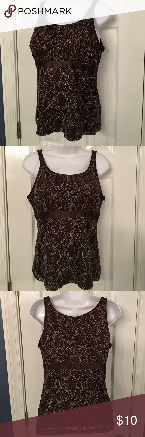 Merona Sleeveless Cami top in Brown Lace Merona Brown Cami or top in Lace with satin piping. Side zipper. Size is medium. Merona Tops Camisoles