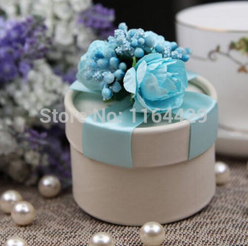 10PCS/LOT PAPER gift box BLUE Wedding Favor Boxes party candy box - Free…