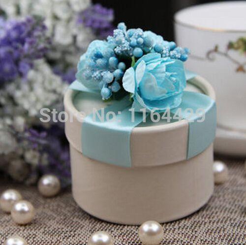 10PCS/LOT PAPER gift box BLUE Wedding Favor Boxes party candy box - Free…