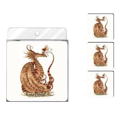 Tree-Free Greetings NC37554 Amy Brown 4-Pack Artful Coaster Set Fantasy The Pest Dragon and Fairy