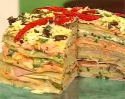 Recetas | Cocineros Argentinos - Sin carne - Torre de panqueques multicolor