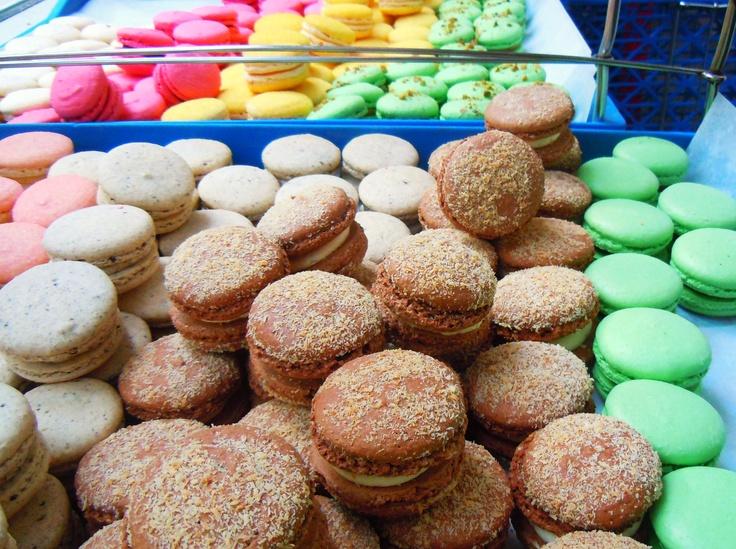 A rainbow of macarons at Petit Thuet in Toronto.