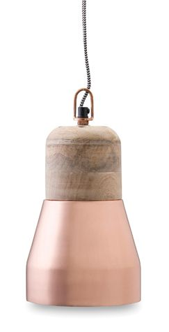 Gorgeous - copper & wood pendant light