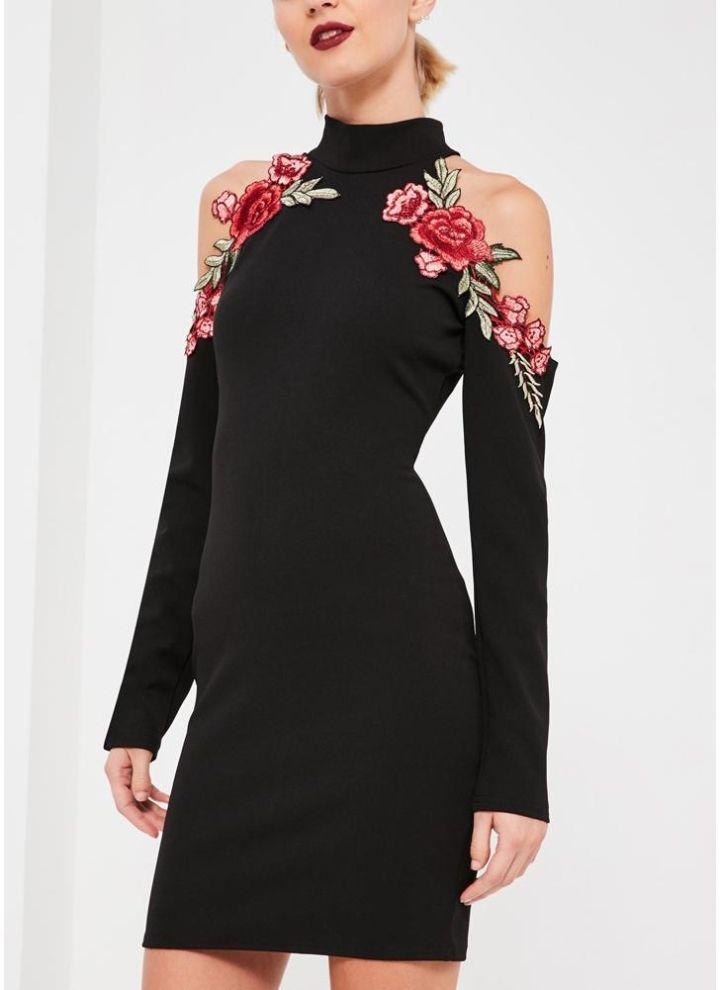 7e038bd04b75 Women Embroidery Cold Shoulder Dress Halter Long Sleeve Mini Dress ...