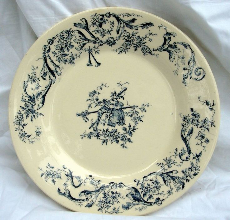 Antique Dishes | Antique 19th C. French Gien Faience Plate For Sale | Antiques.com ...