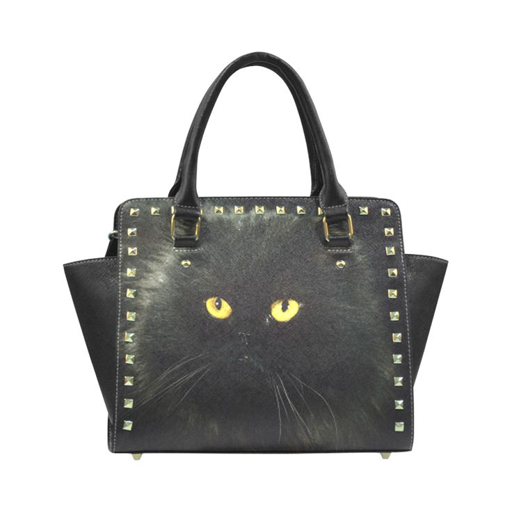 Black Cat Rivet Shoulder Handbag (Model 1645)