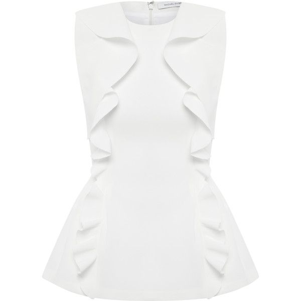 Rachel Gilbert Cecilie Top (€545) ❤ liked on Polyvore featuring tops, white, rachel gilbert, white peplum top, peplum tops, form fitting tops and white top