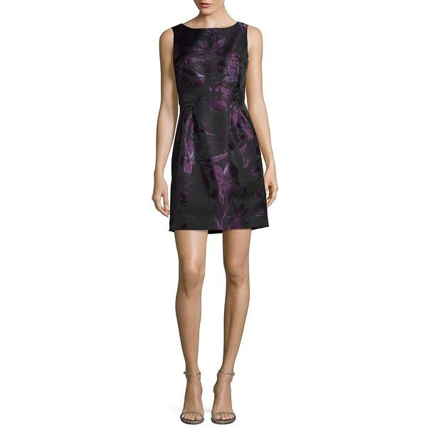 Tahari Arthur S. Levine Women's Petite Floral Metallic Fit-&-Flare... ($97) ❤ liked on Polyvore featuring dresses, black plum, sparkly dresses, floral printed dress, floral fit-and-flare dresses, petite dresses and boatneck dress
