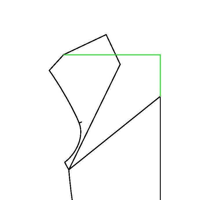 watervalhals maken van standaard t-shirt patroon