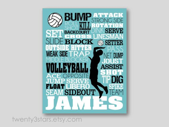 Men's Volleyball Typography Art Print Perfect for por twenty3stars