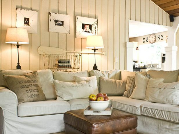 Lovely Lake House Tour - neutrals, wide planked walls, leather, charming!