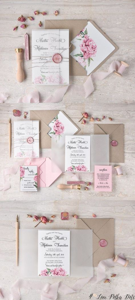 Vintage pink watercolor wedding invitations pinkwedding 13