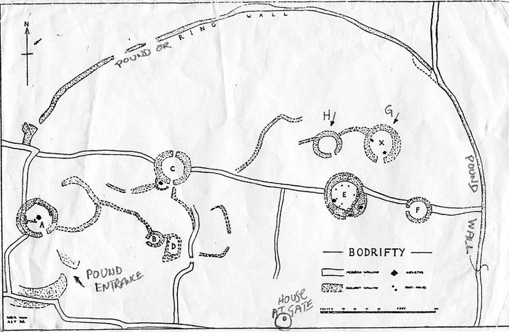 "1995. The Plan . of the Bodfifty ""Iron Age Settlement"", by Ted Motler. West Penwith, Cornwall."