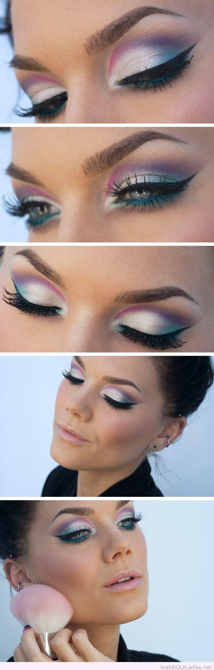 Purple, silver and blue eye make-up inspiration