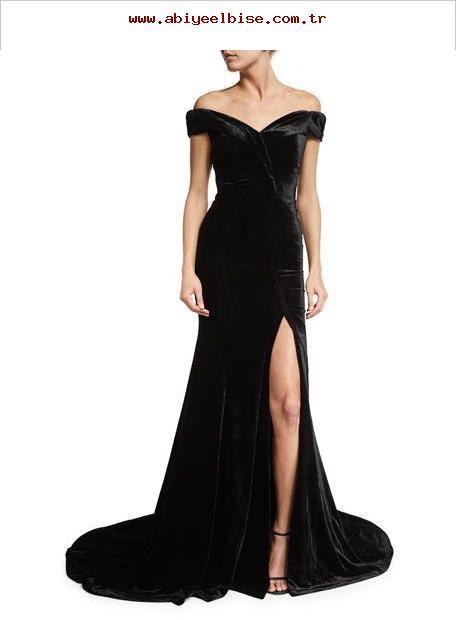 b97c3f186bd Siyah omuzları açık uzun Kadife abiye elbise modelleri