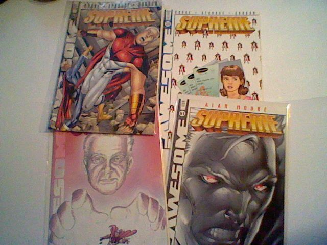 4 Awesome Supreme comics: 51,53,54,6 (last issue), Liefeld, Alan Moore