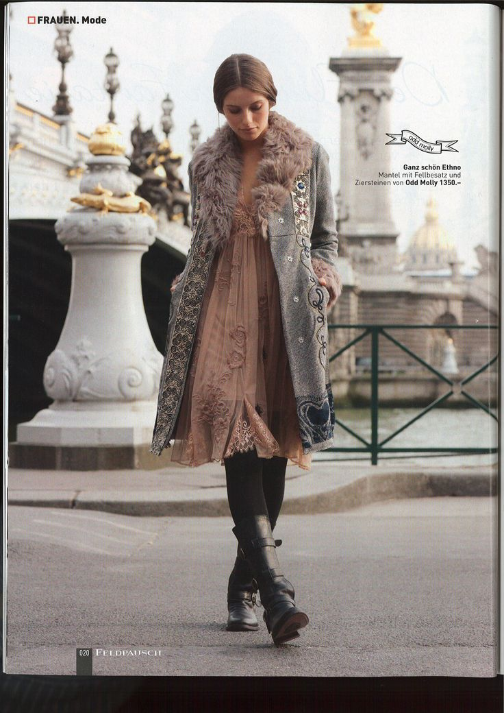 """""""Pretty ethno"""" - Odd Molly lace dress and coat with embroideries in Frauen Switzerland, November 2010"""