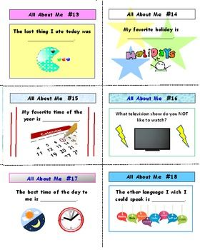ALL ABOUT ME ACTIVITY CARDS AND LESSON PLAN    * USE ANYTIME DURING THE YEAR!   * 25 ACTIVITY CARDS – 25 QUESTIONS ALL ABOUT THEM!   * A WONDERFUL ACTIVITY ON THEIR LIKES AND DISLIKES! Students love talking about themselves and this activity will give them that chance.   * SHORT ANSWERS will help even the shy students to share.    * COMPLETE LESSON PLAN INCLUDED!