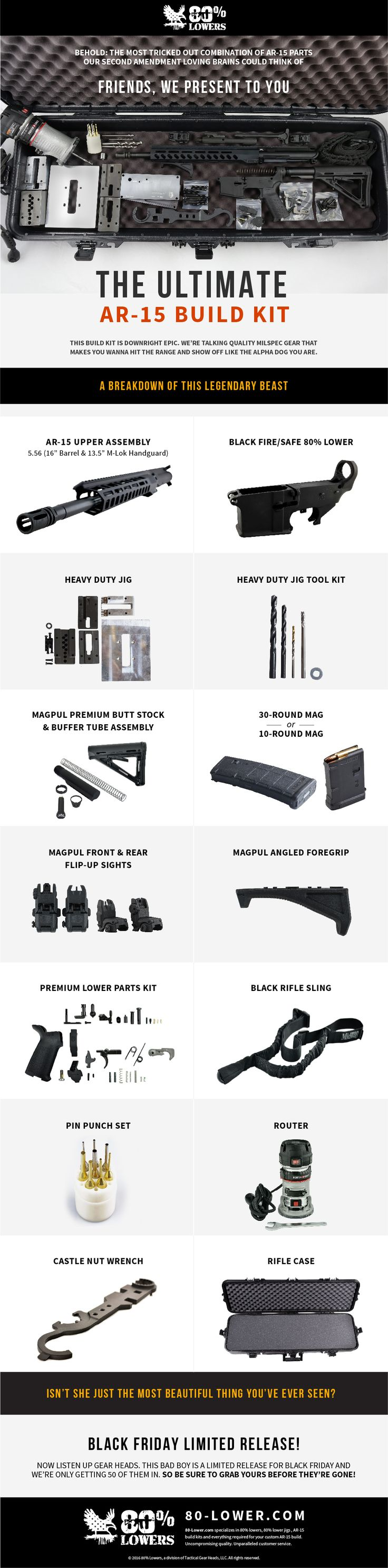 The Ultimate AR-15 Build Kit is downright epic. And we only have 50 of 'em for Black Friday. Guaranteed to be the best present you have ever purchased for the beginner or experienced gunsmith in your life (or for yourself). The kit is engineered to bring you every single pin, spring, tool, drill bit and necessary part you need to complete your own, fully custom AR-15 - in one simple package.