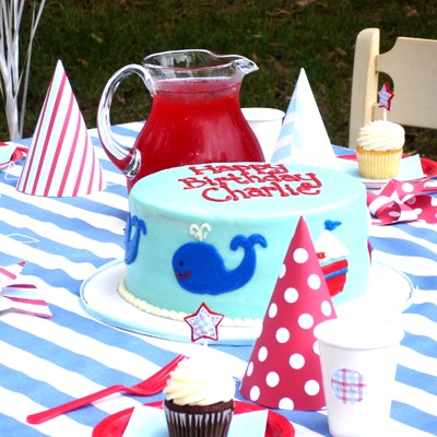 blue red & white party hats & cake